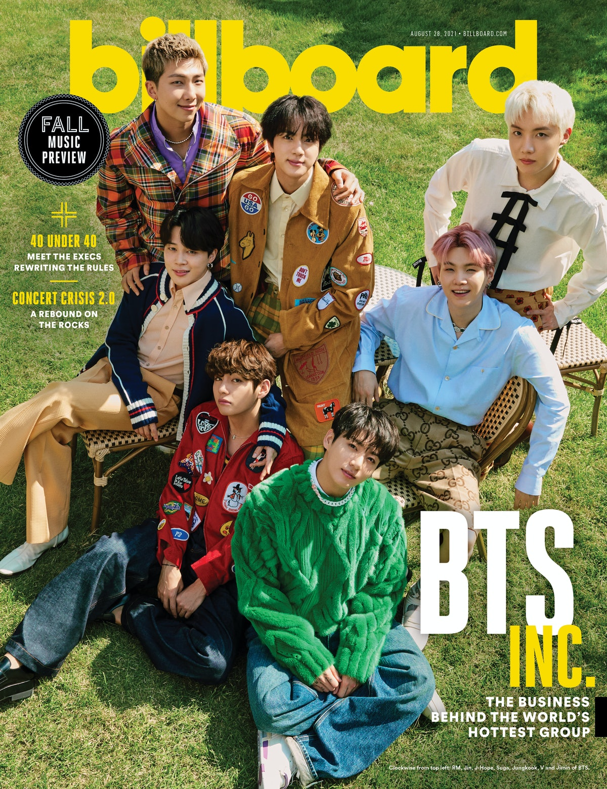 BTS poses on the cover of Billboard