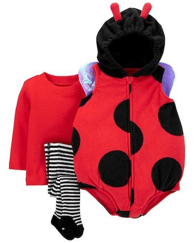 Flat lay of baby lady bug costume