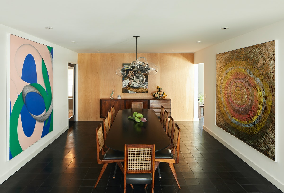 A view of the dining room, with Lesley Vance's Untitled, 2019–2020, Jonas Wood's Akio Takamori, 2014...