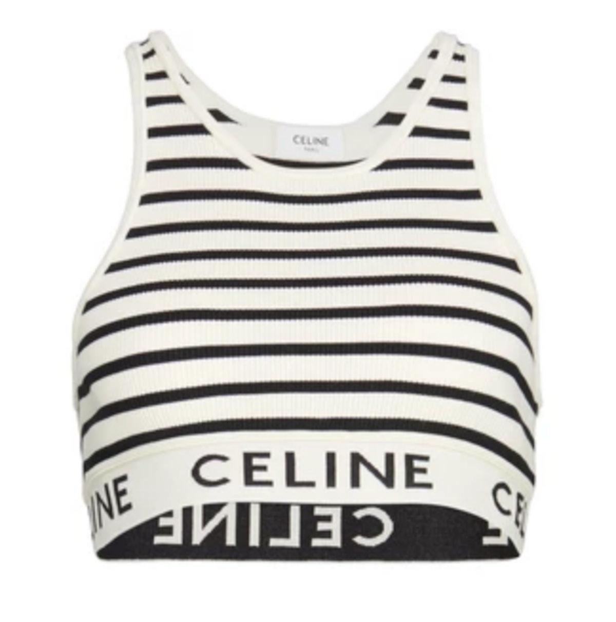 CELINE's black and white striped sports bra.