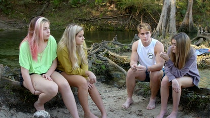 Kaili and Malia Spells having a river-side conversation with Grayson Leavy and Lenley Gross on 'Titl...