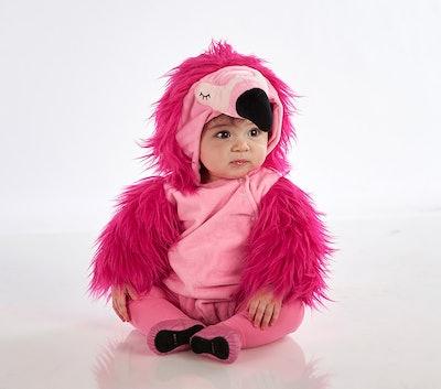 Baby sitting down wearing flamingo costume
