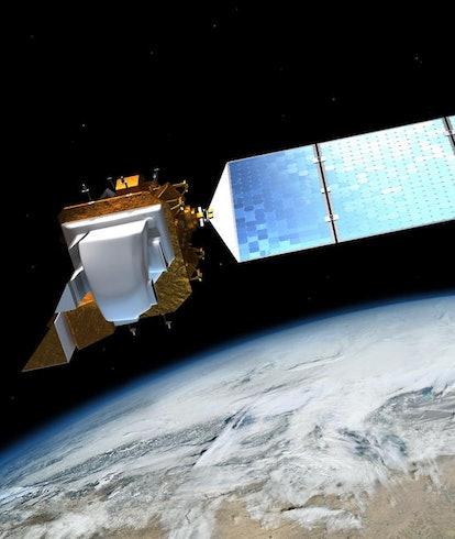 An illustration of the Landsat 8 satellite orbiting Earth