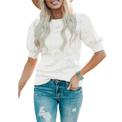 Foshow Puff Short Sleeve Pullover Sweater