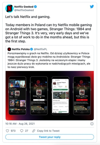 Netflix has added to mobile games to its Android app in Poland.