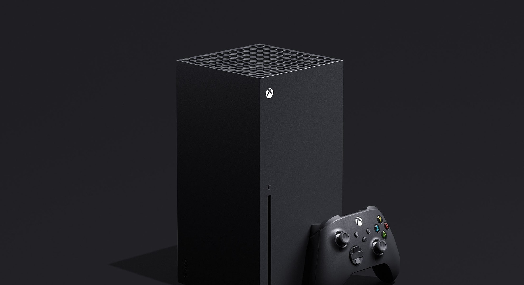 front and side view of Xbox Series X console and controller