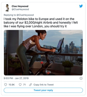 Peloton has been mocked in the past for depicting its exercise bikes being used in luxurious setting...