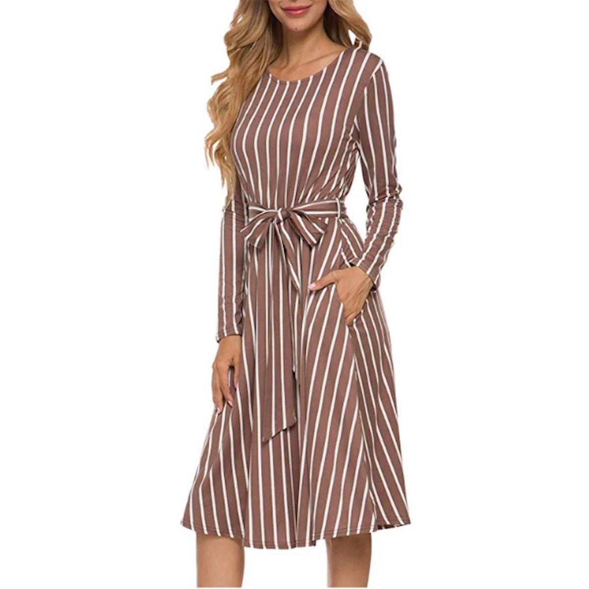 levaca Flowy Striped Long Sleeve Midi Dress with Belt & Pockets