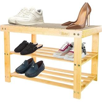 Halter 3-Tier Bamboo Shoe Rack Bench