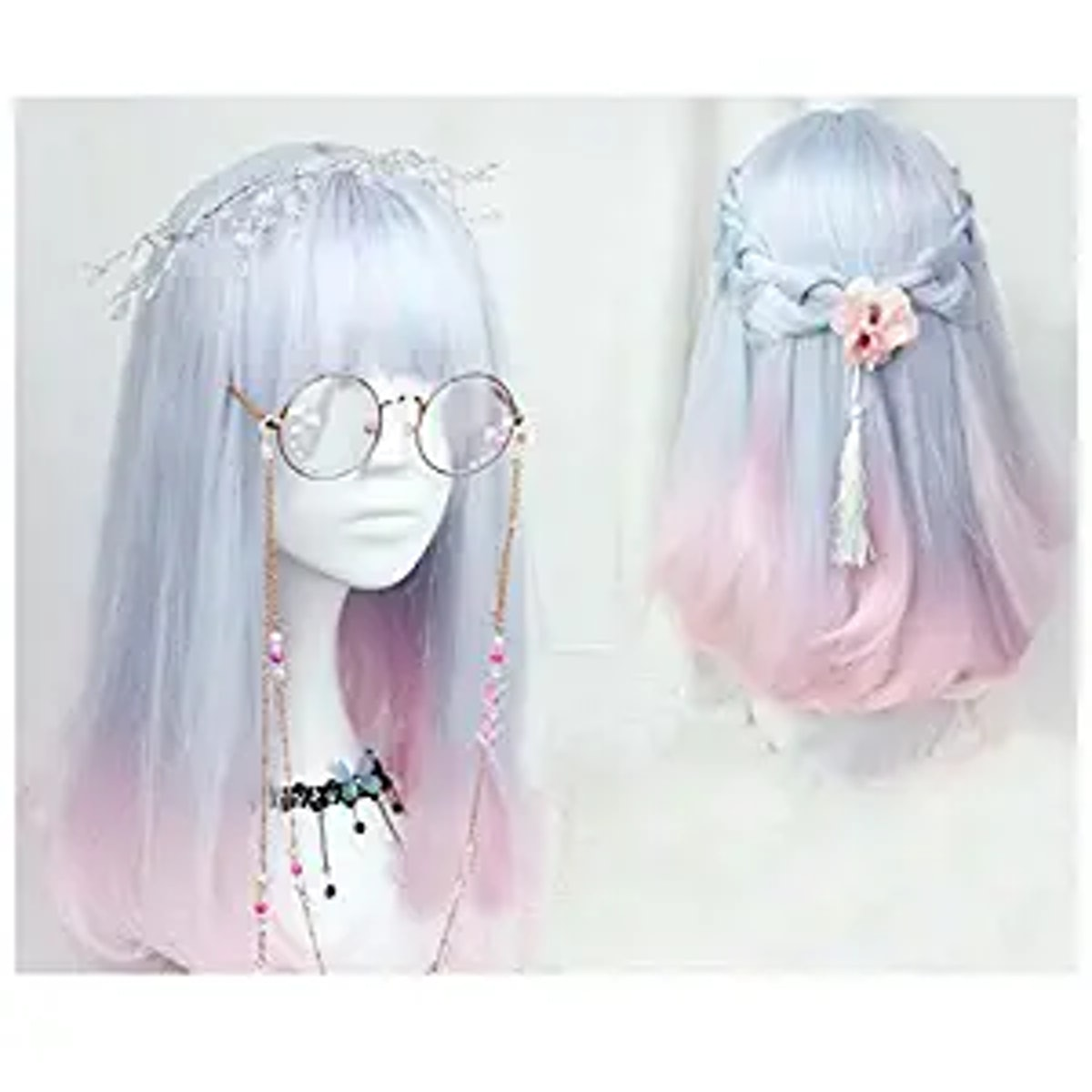 CHC Fairy 18 inch soft sister Light blue pink color gradient Cosplay wig Gals Japan Harajuku style+c...