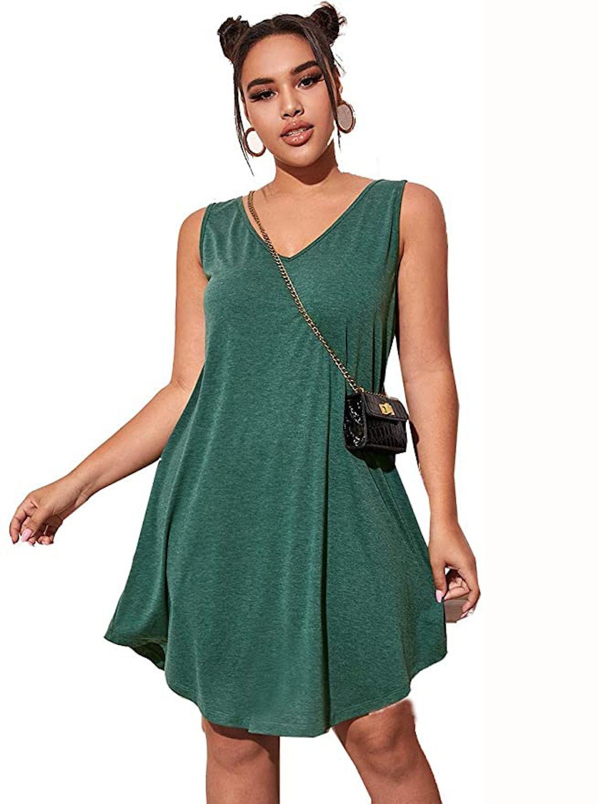 Romwe Plus Size Casual Sleeveless Dress