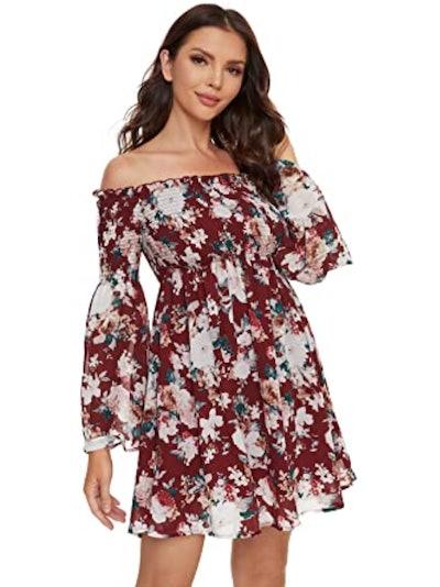 Romwe Off-Shoulder Swing Dress