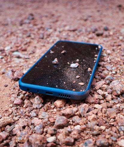 XR20 smartphone from Nokia covered in dust