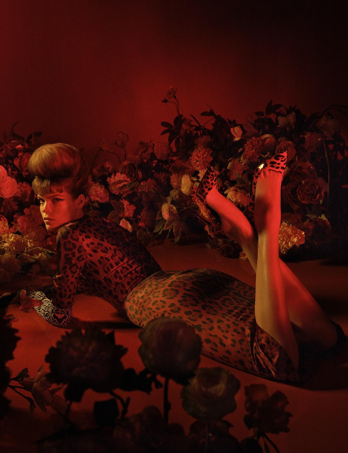 Meghan Collison wears a Dolce & Gabbana dress and shoes; Prada gloves.