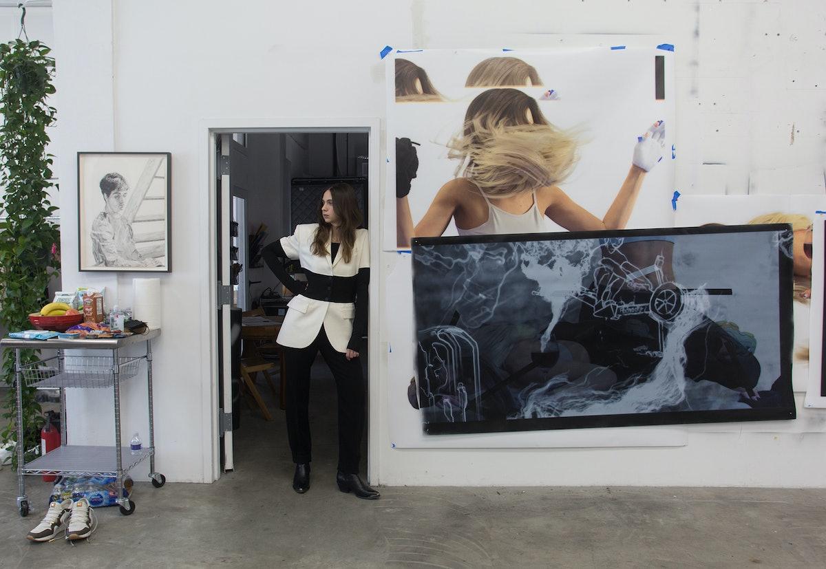 Singer in her Brooklyn studio with works in progress.
