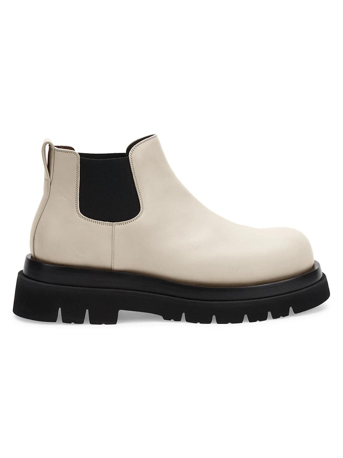 White Lug Leather Chelsea Boots from Bottega Veneta, available to shop on Saks Fifth Avenue.