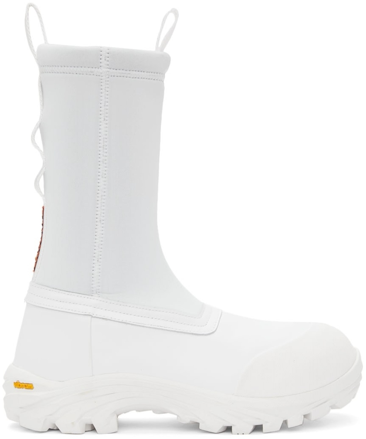 White Leather Security Sock Boots from Heron Preston, available to shop on SSENSE.