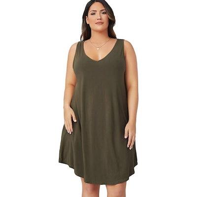 Romwe Plus Size Sleeveless T-Shirt Dress