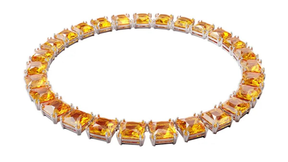 Swarovski's yellow square cut crystal necklace.
