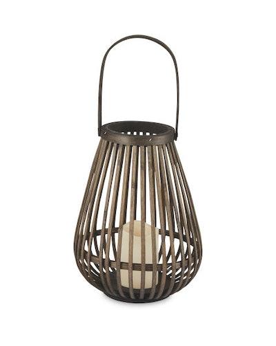 Dark Brown LED Woven Lantern