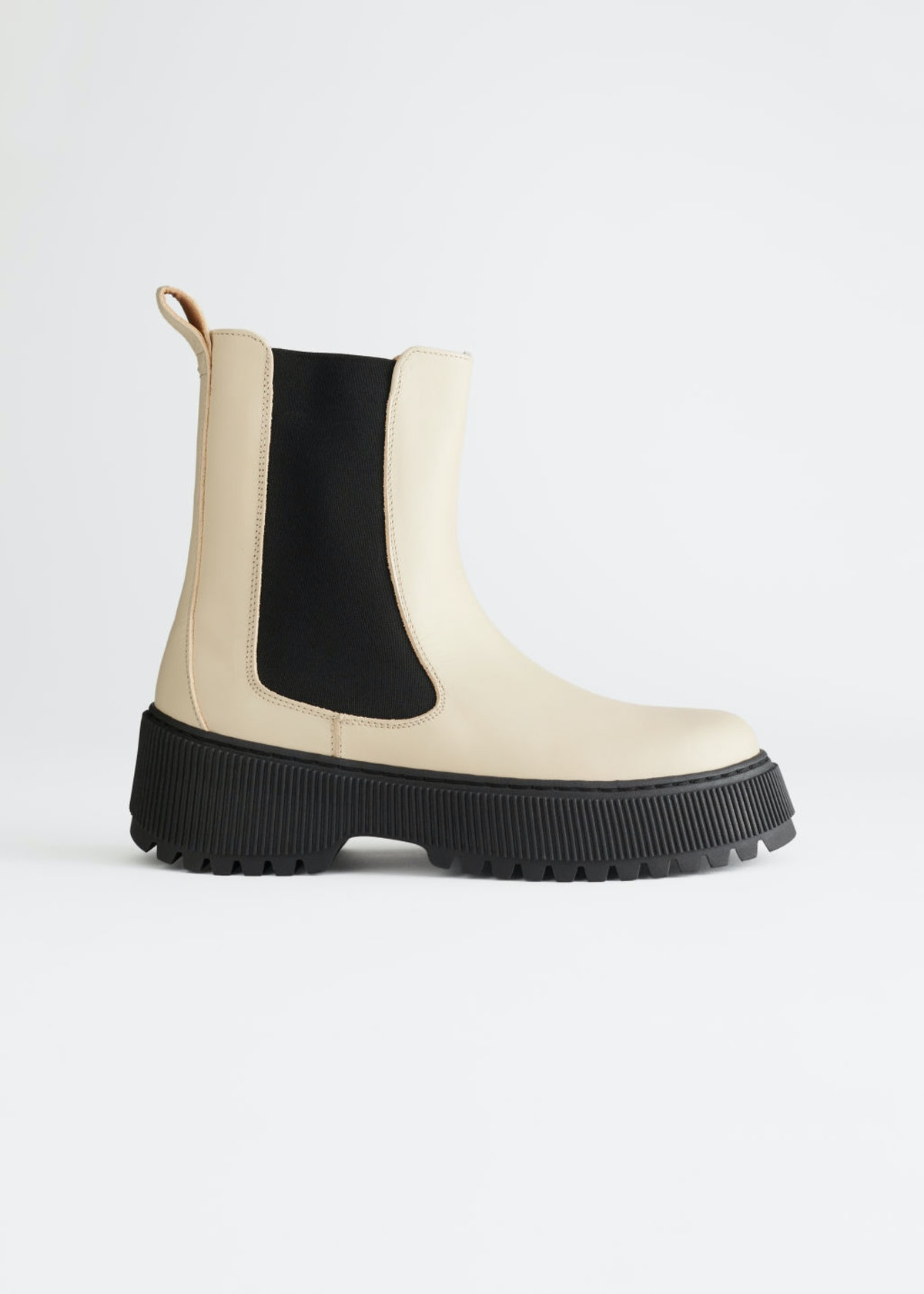 White chunky leather Chelsea boots from & Other Stories.