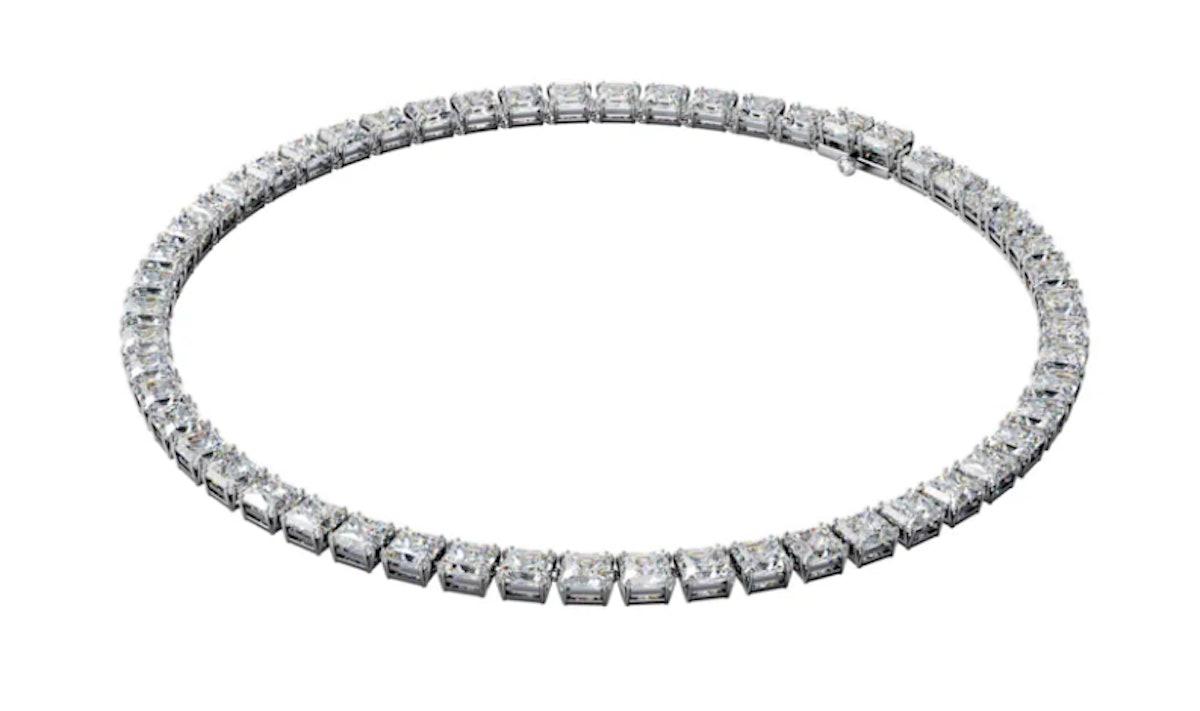 Swarovski's square cut Swarovski Zirconia and crystal necklace.