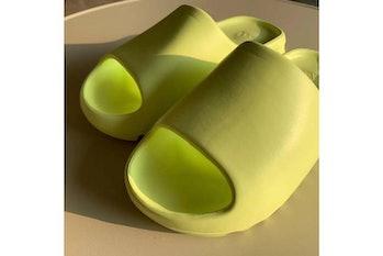 Kanye West Yeezy slide glow green