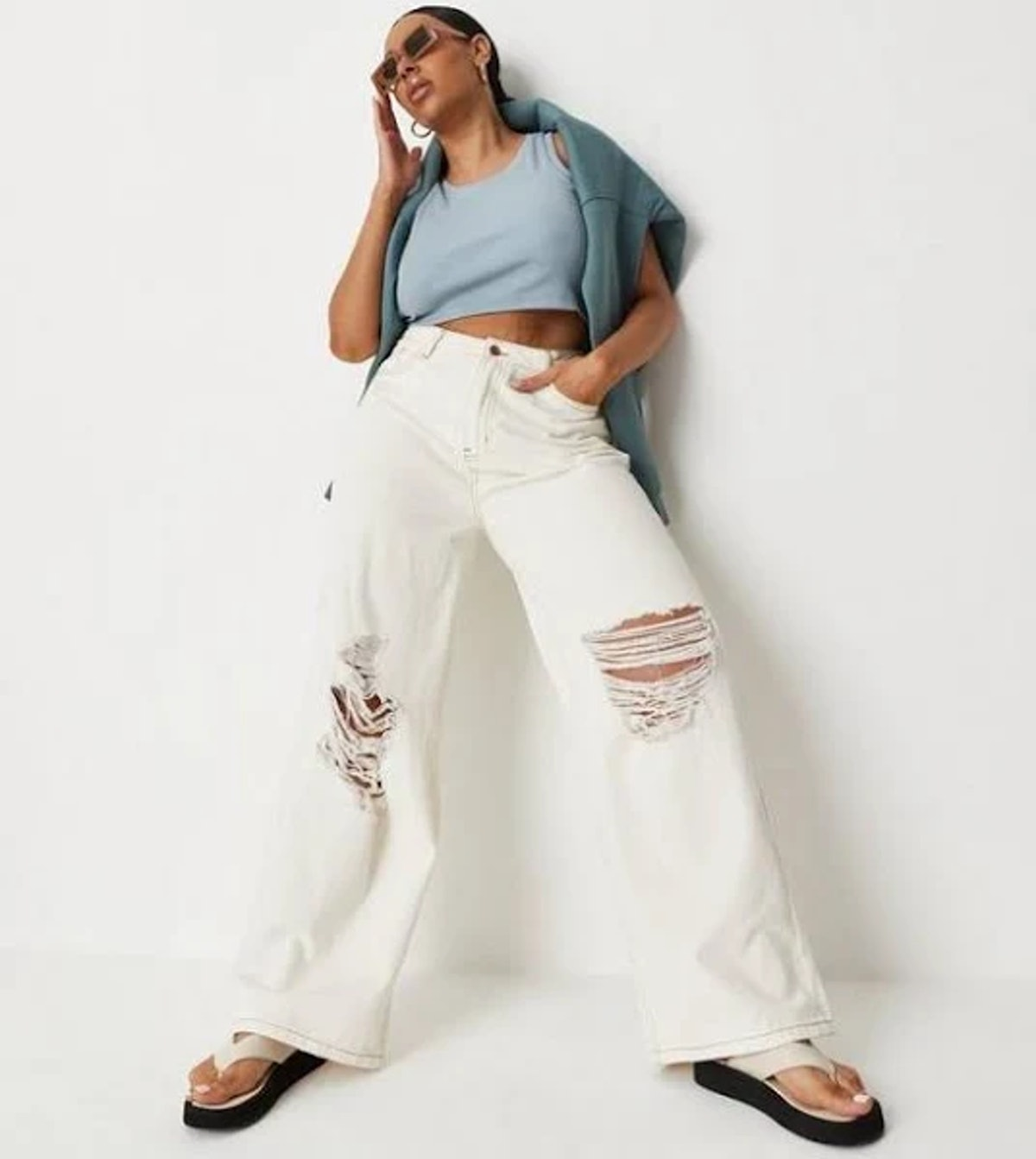 Recycled Plus Size Ecru Ripped Knee Wide Leg Jeans