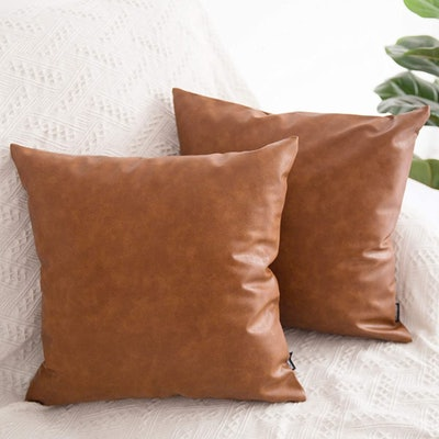 HOMFINER Faux Leather Throw Pillow Covers (Set of 2)
