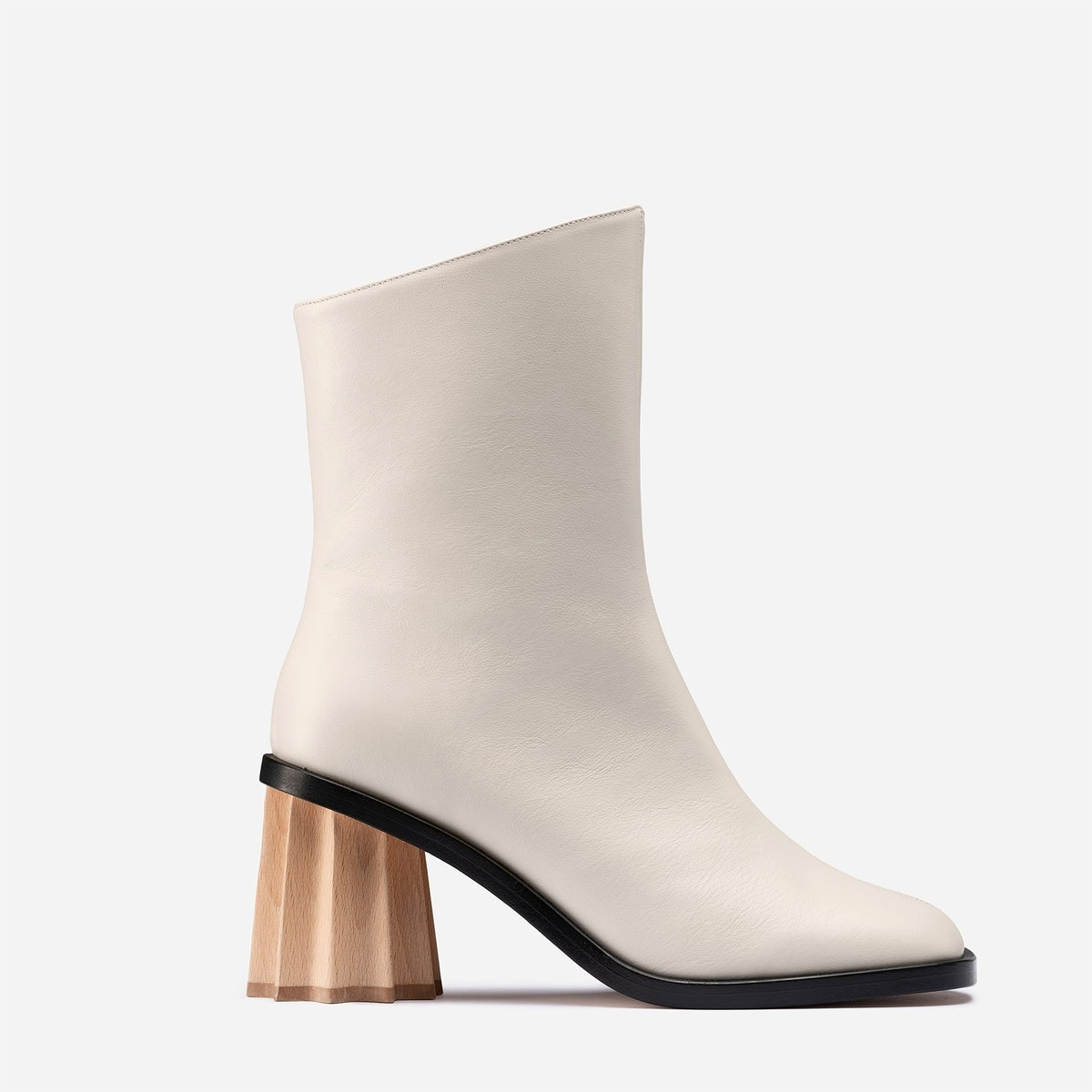 Pleated Heel Boot in Off White from mlouye.