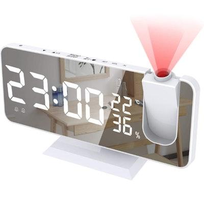 SZRSTH Mirror LED Display Projection Alarm Clock