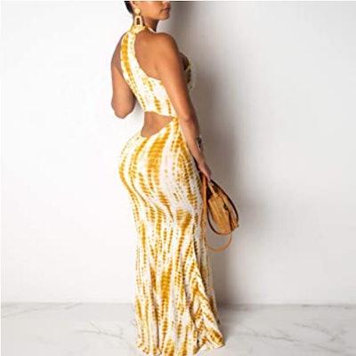 IyMoo Halter Neck Maxi Dress