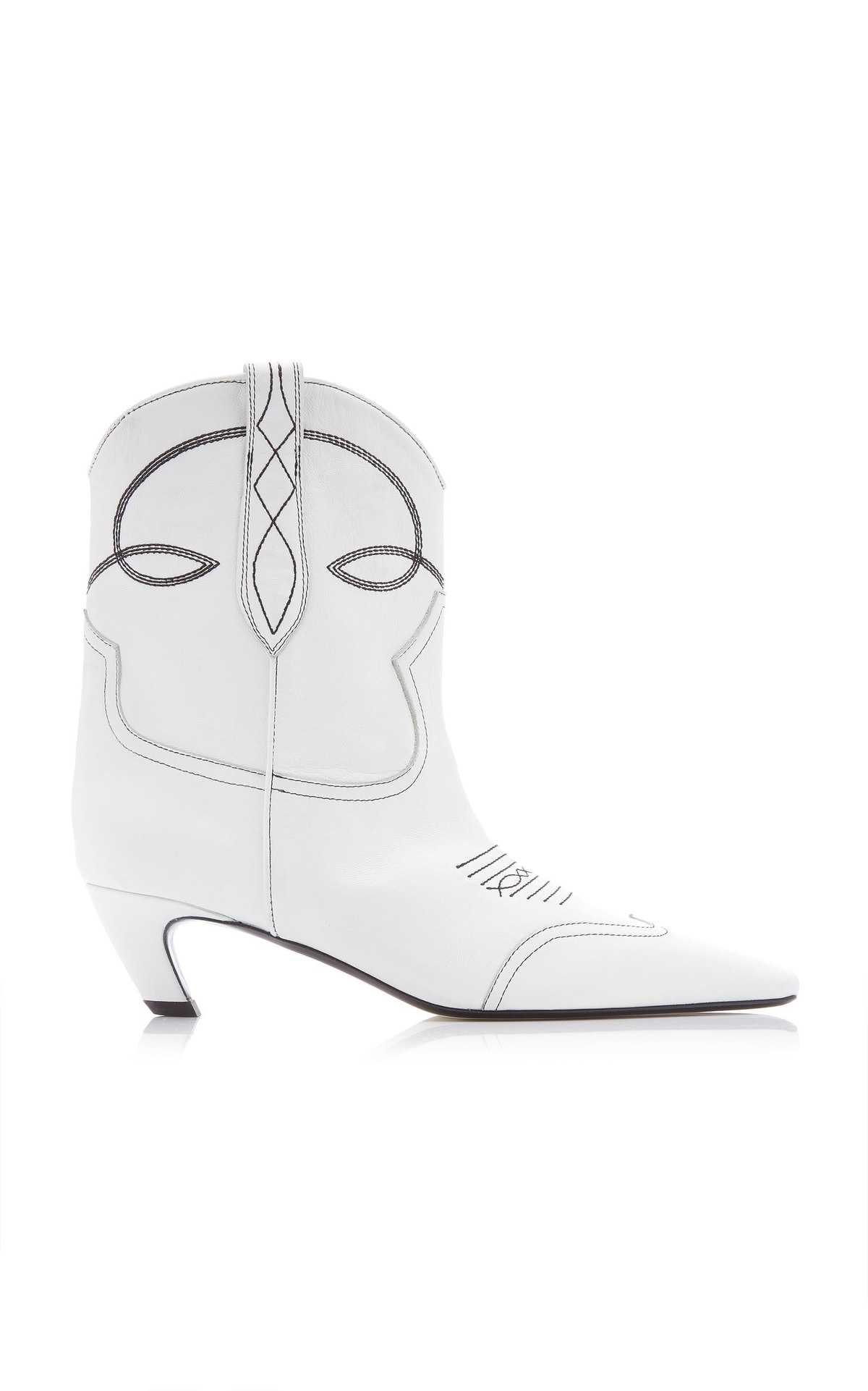 Dallas white leather ankle boots from Khaite, available to shop on Moda Operandi.
