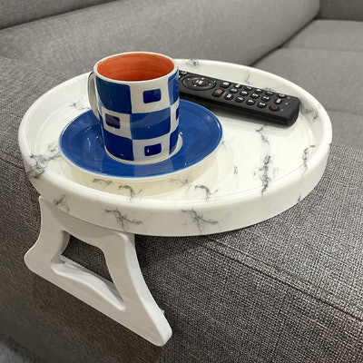 F&T Marble Printed Sofa Arm Clip Table