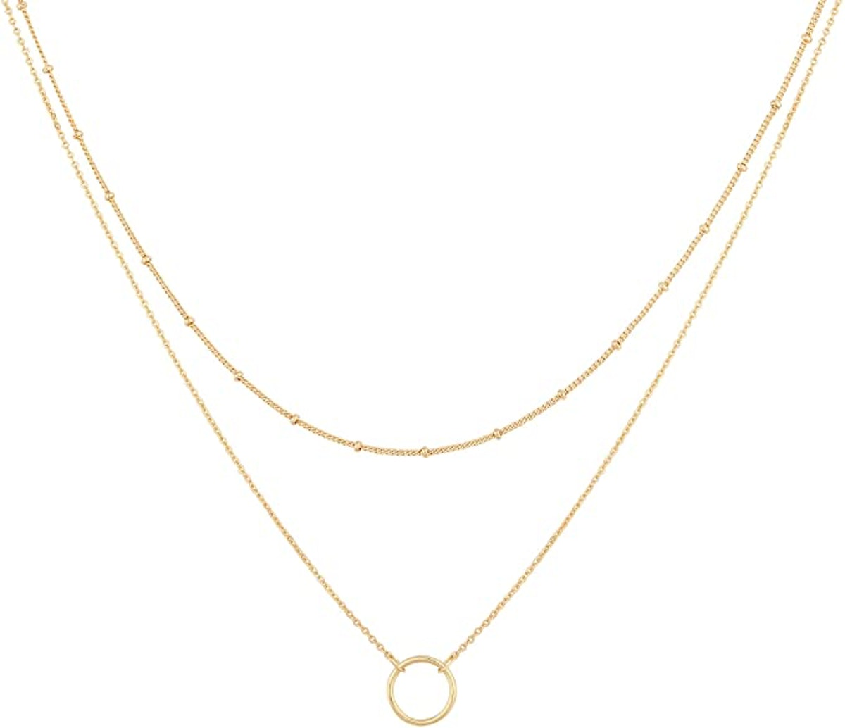 Mevecco 18k Gold Plated Layered Pendant