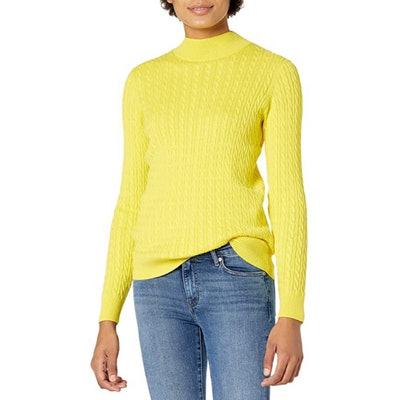 Amazon Essentials Classic-fit Lightweight Cable Mockneck Sweater