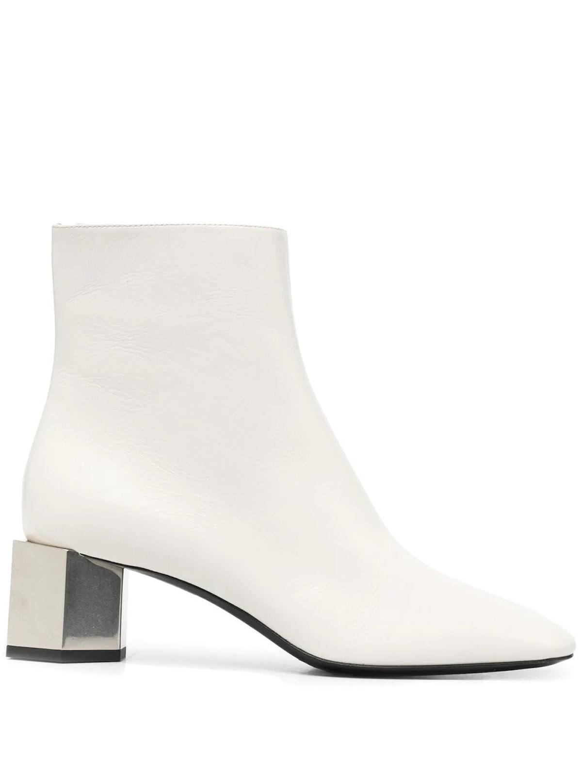 White Block Heel Boots
