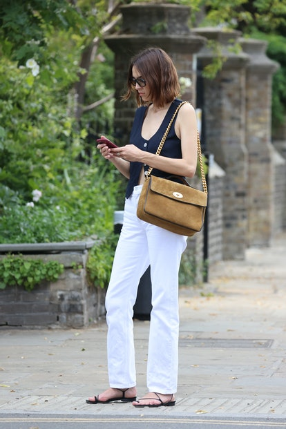 Alexa Chung wears the 'Big Guy' in Tan & Black Suede & Vinyl from the Mulberry x Alexa Chung collection ...