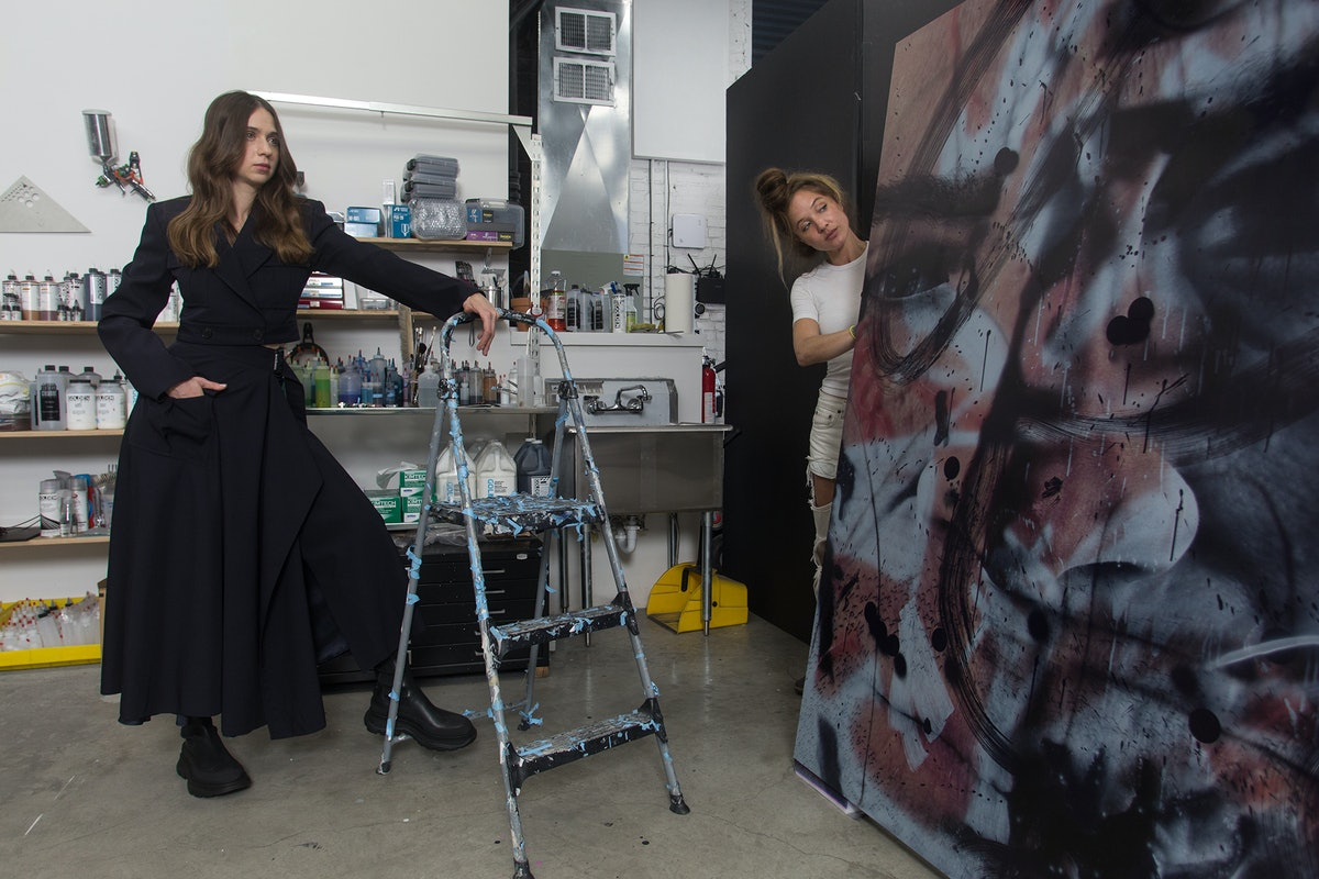 The artist and Kate Enman, her studio liaison and archivist, with Edgelord (Study), 2021.