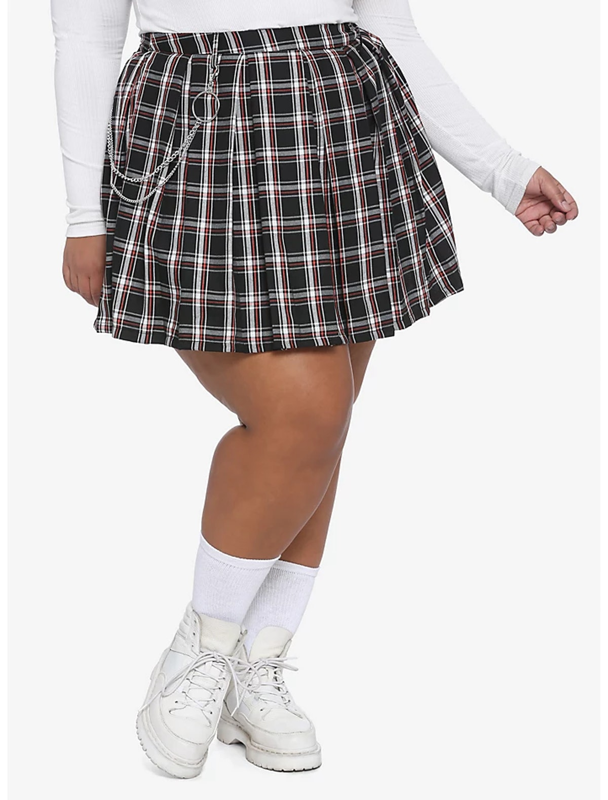 O-Ring Chain Plaid Pleated Skirt Plus Size