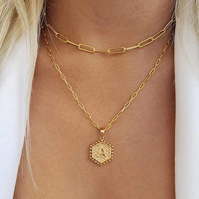 M MOOHAM 14K Gold Plated Layered Initial Necklaces