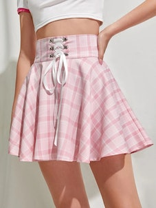 Lace Up Plaid Flared Skirt