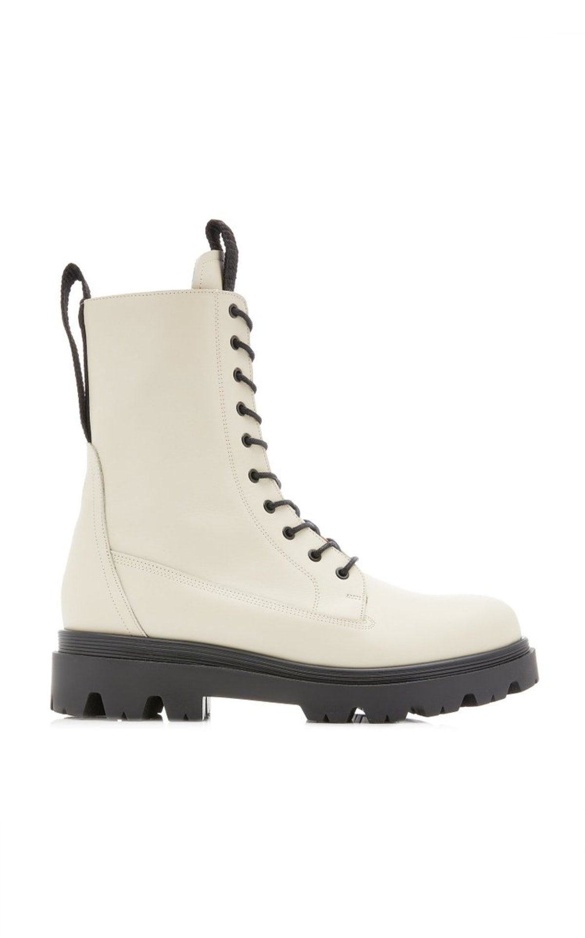 Lovi white leather combat boots from Flattered, available to shop on Moda Operandi.