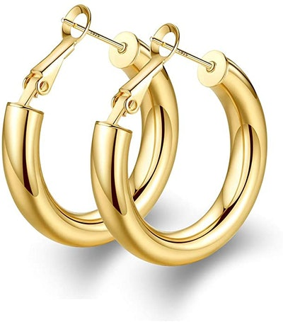 wowshow 14K Gold Plated Gold Hoops