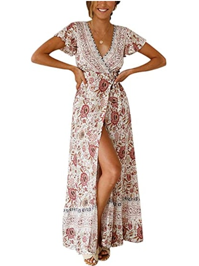 TEMOFON Wrap Maxi Dress