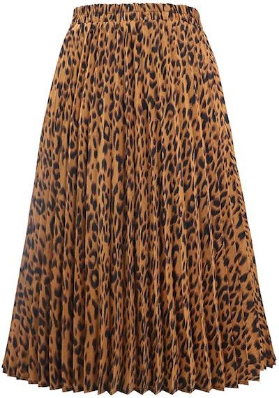 CHARTOU Elastic High Waisted Leopard Print Midi Skirt