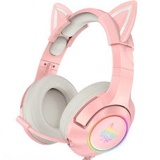 Onikuma Wired Headphones Stereo Dynamic Drivers Noise Reduction Headset 3.5MM RGB Luminous Pink Cat ...