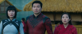 Meng'er Zhang, Simu Liu, and Awkwafina in Shang-Chi and the Legend of the Ten Rings