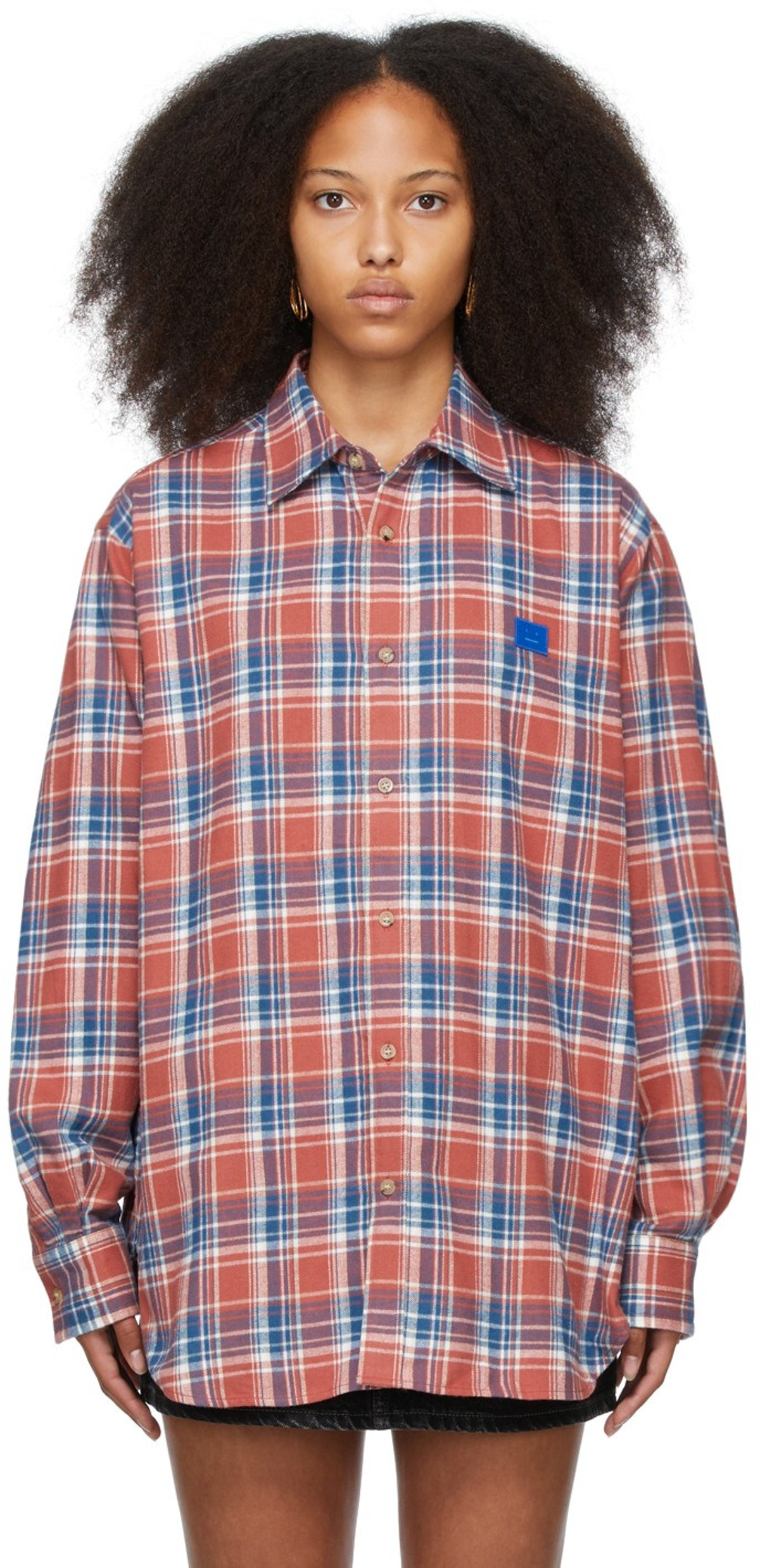 Red & Blue Flannel Patch Shirt