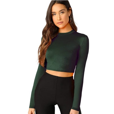 Verdusa Fitted Long Sleeve Crop Top